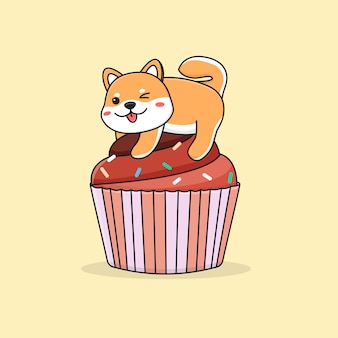 Shiba inu carino sul cupcake