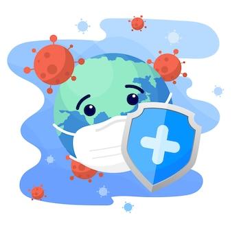 Shield shield personaggio del mondo che indossa una maschera medica protettiva dal coronavirus. virus corona mondiale e concetto di attacco di pandemia strabiliante e covid-19.