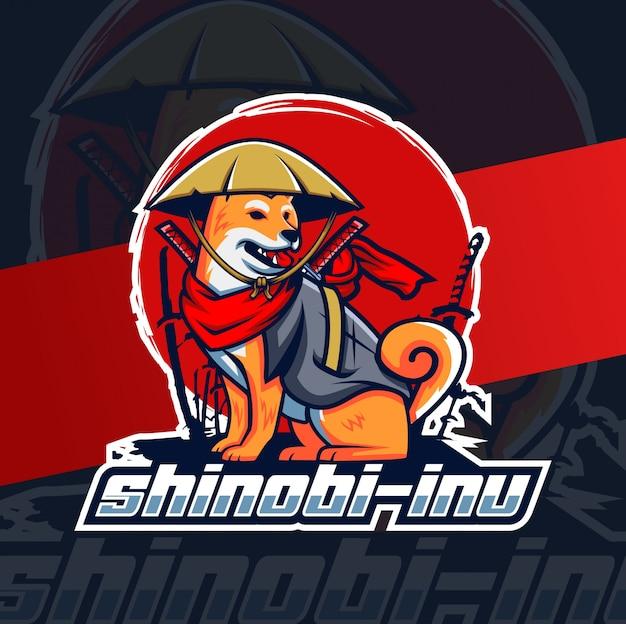 Shinobi inu cane mascotte esport design lgoo