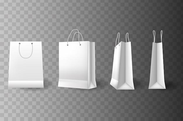Shopper in carta. pacchetto vuoto bianco nero. sacco di carta per lo shopping set, acquisto del modello di pacchetto. imballaggio per il cliente
