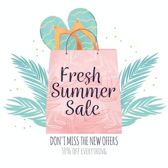 Shopping bag ciao estate dell'acquerello