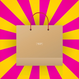 Shopping bag con sfondo colorato raggio.
