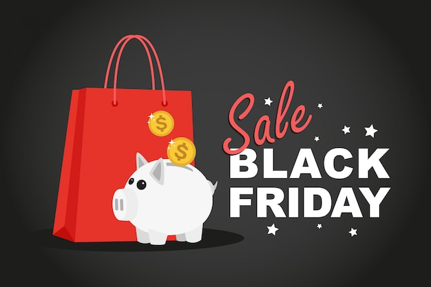 Shopping bags e salvadanaio, vendita del black friday