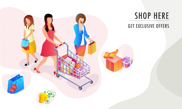 Shopping banner o poster design.