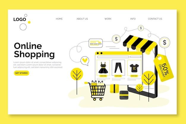 Shopping design della pagina di destinazione online