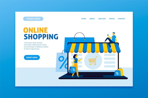 Shopping design piatto pagina di destinazione online