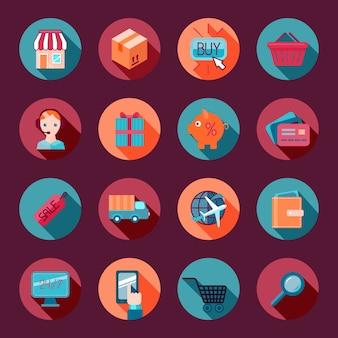 Shopping icone di e-commerce set piatto