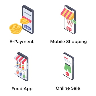 Shopping icone isometriche
