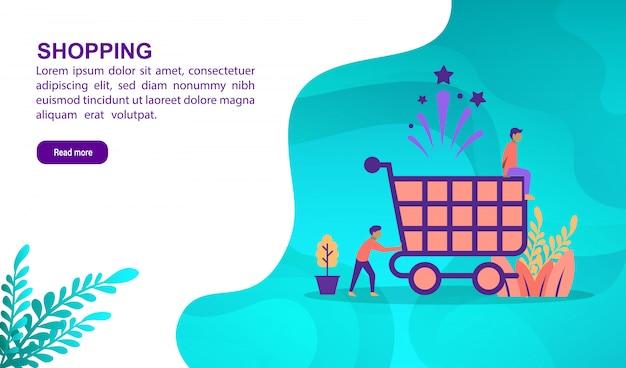 Shopping illustrazione concetto con carattere. modello di pagina di destinazione