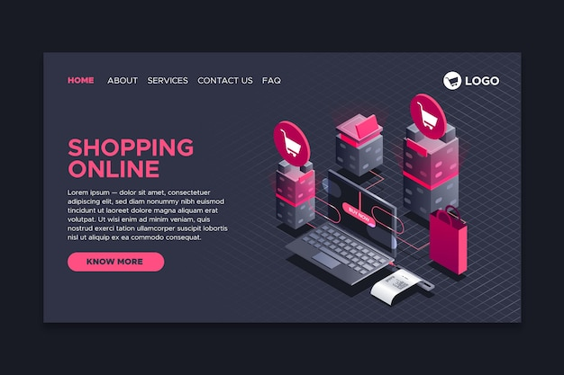 Shopping in stile pagina isometrica landing page