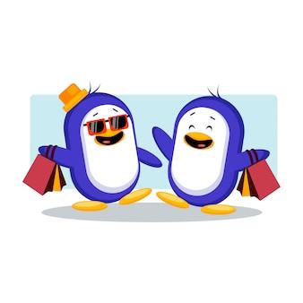 Shopping insieme penguin vector illustration