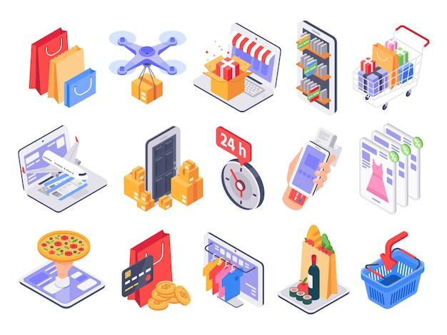 Shopping isometrico. negozio online, consegna al mercato e vendita al dettaglio. insieme dell'illustrazione dei prodotti della drogheria e di acquisto di internet