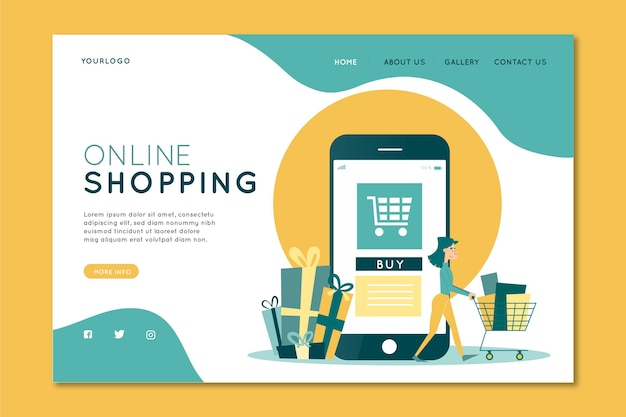 Shopping landing page design piatto online