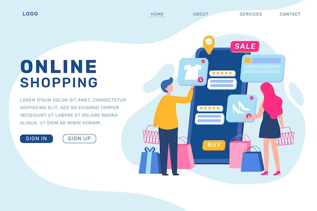 Shopping landing page online in design piatto