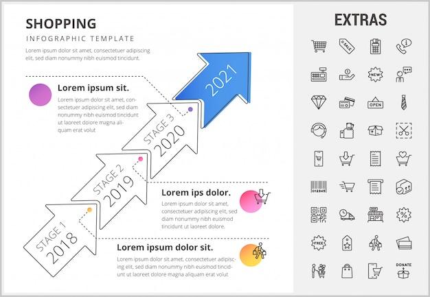 Shopping modello infografica, elementi e icone