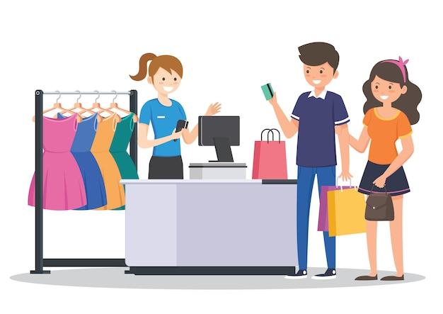 Shopping nel negozio di tessuti