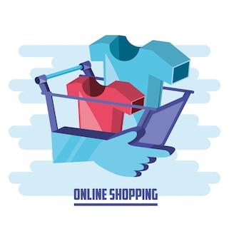 Shopping on line con carrello aggiungi