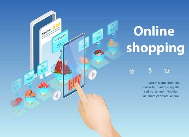 Shopping online, acquisto della migliore applicazione alimentare.