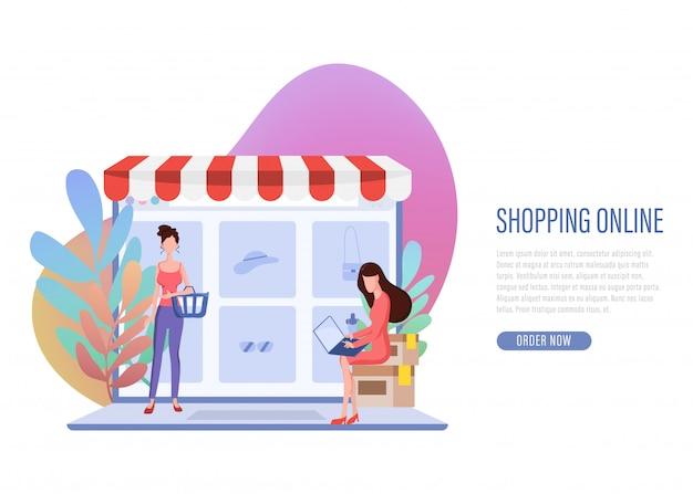 Shopping online banner pagina di destinazione web.
