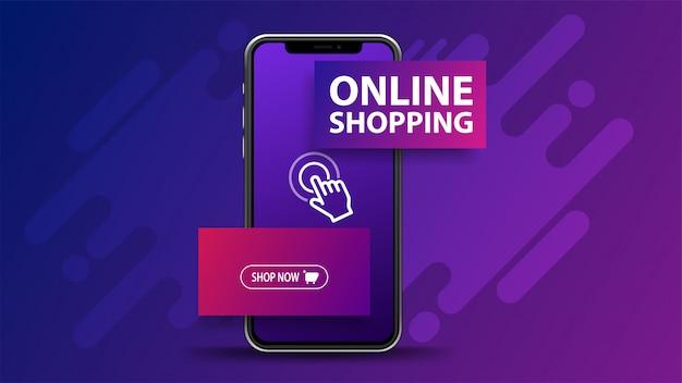 Shopping online, banner viola con smartphone con titolo e pulsante volumetrici. banner web per il tuo sito web
