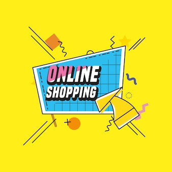 Shopping online con carrello stile pop art