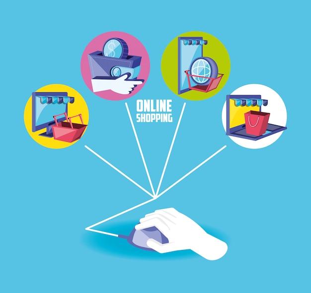 Shopping online con la mano usando il mouse e impostare le icone