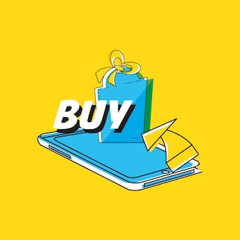 Shopping online con lo smartphone in stile pop art