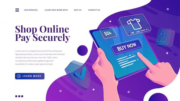 Shopping online con tablet telefono e landing page di pagamento di sicurezza
