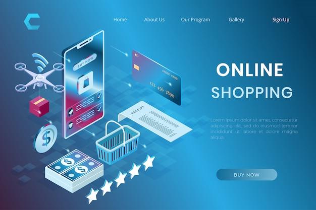 Shopping online di illustrazione del sistema di stampa, pagamento e-commerce e consegna in stile 3d isometrico