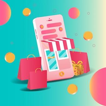Shopping online di smartphone 3d di marketing e marketing digitale. applicazioni mobili e concetti di siti web. illustrazione vettoriale
