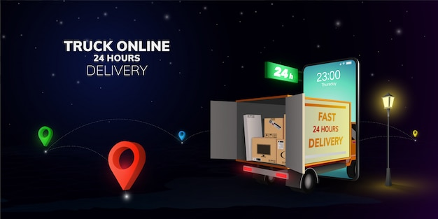 Shopping online digitale e consegna camion