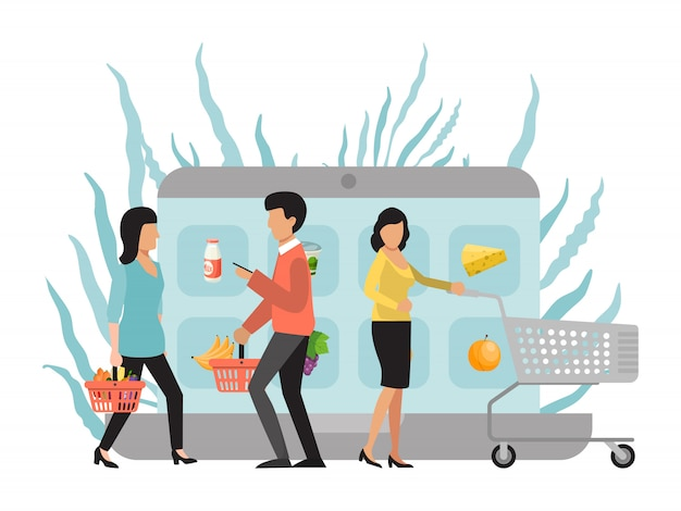 Shopping online e domanda di consegna. il cliente acquista cibo nel mercato via internet. acquirenti con carrelli che acquistano prodotti nell'app mobile