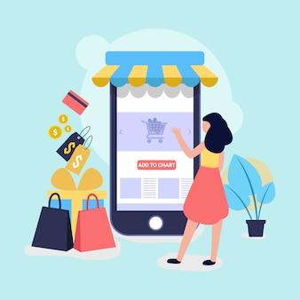 Shopping online e illustrazione negozio per sito web