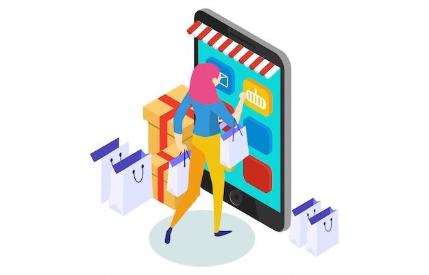 Shopping online illustrazione isometrica concetto