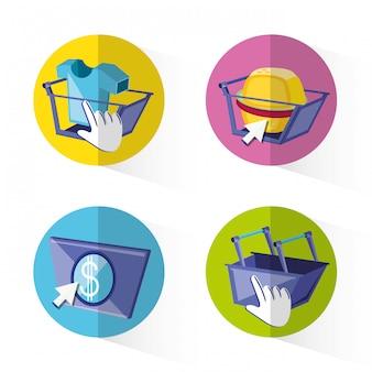 Shopping online imposta icone