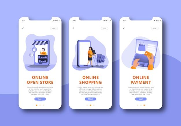 Shopping online onboarding schermo mobile design dell'interfaccia utente