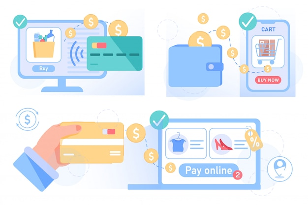 Shopping online, pagamento, consegna, set di ordini