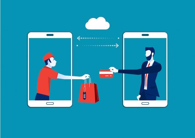 Shopping online, persone che acquistano utilizzando smartphone, shopping bags, acquisti su internet e illustrazione di consegna