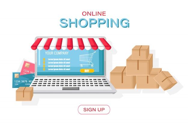 Shopping online stile piatto per notebook. scatole di concetti di vendita al dettaglio spedizione merci di consegna