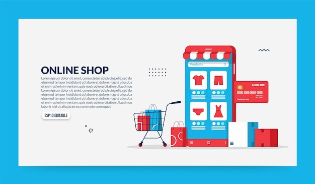 Shopping online su applicazione mobile, negozio intelligente e concetto di e-commerce