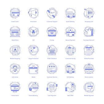 Shopping pack di icone vettoriali