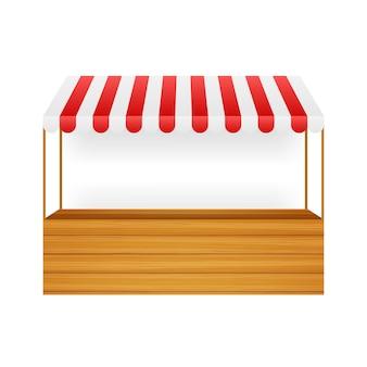 Shopping stand modello con tenda da sole a strisce rosse e bianche, mock up