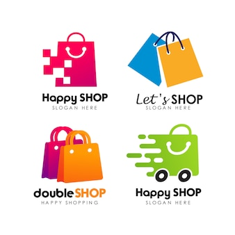 Shopping store logo design vettoriale