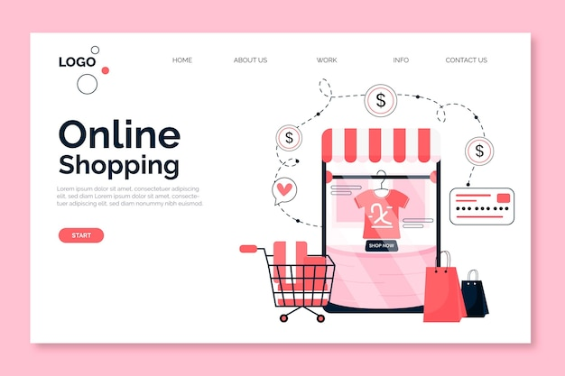 Shopping tema della pagina di destinazione online
