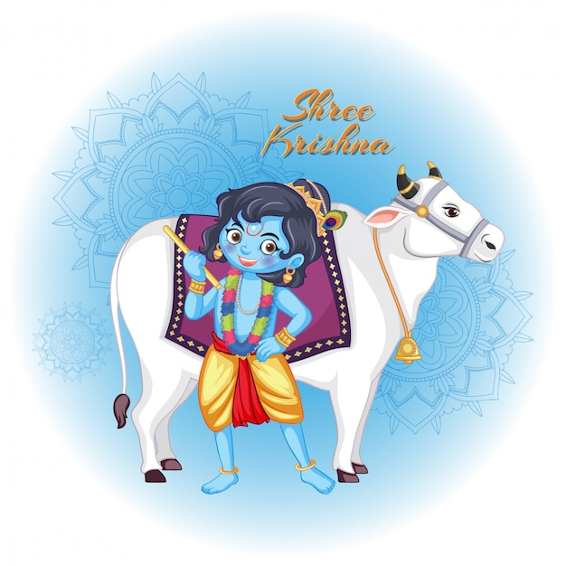 Shree krishna con mucca