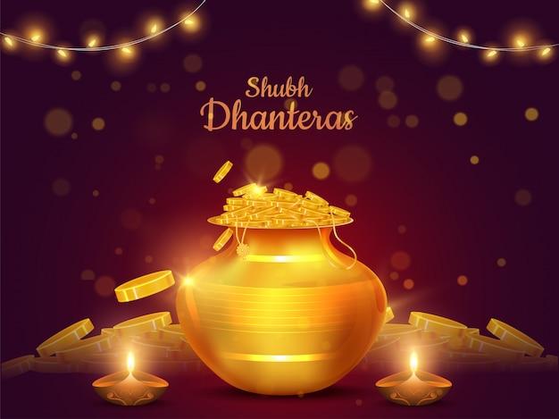 Shubh (happy) dhanteras festival card design con illustrazione della pentola di monete d'oro e lampada ad olio illuminata (diya)