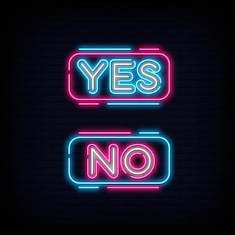 Sì no neon text. sì no insegna al neon