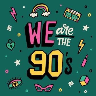 Siamo gli anni novanta. poster di lettere. set di adesivi doodle