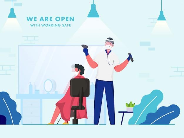 Siamo un barbiere aperto con un lavoro sicuro per prevenire la pandemia di coronavirus.