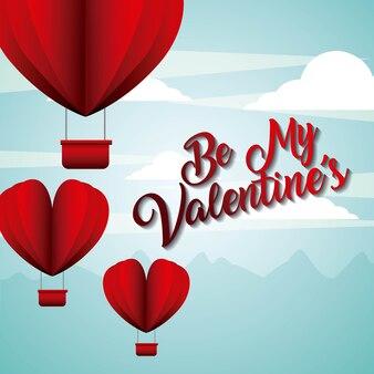 Siate i miei palloncini di san valentino a forma di carta del cielo volante